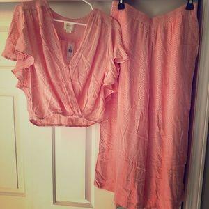 NWT Maeve peach/light pink pant set